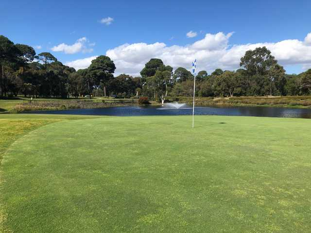 A view of a hole guarded by a pond at Collier Park Golf Club.