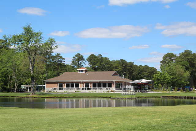 View of the clubhouse at Ocean Pines Golf Club.