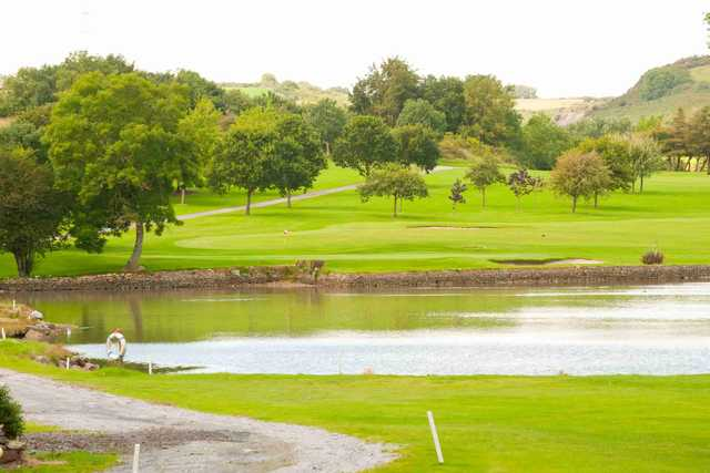 A view over the water of green #8 at Raffeen Creek Golf Club.