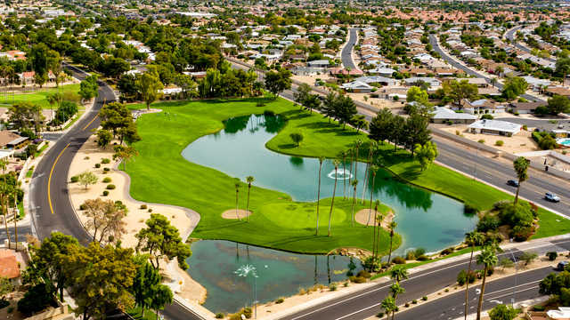 Aerial view of the 17th hole from Westbrook Village Golf Club Lakes Course.