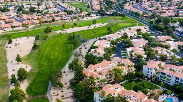 Aerial view of the 10th hole from Westbrook Village Golf Club Lakes Course.