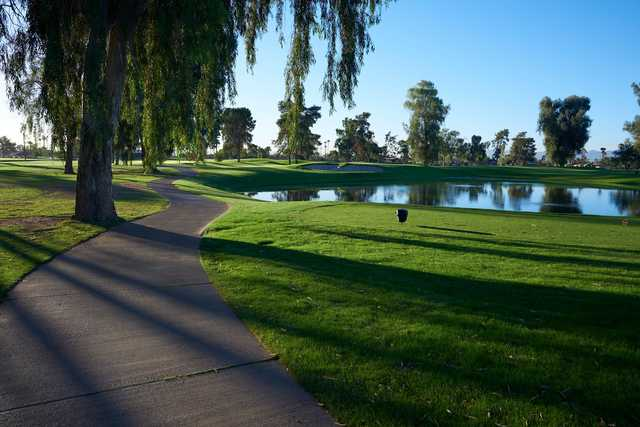 A view of a tee at Grand Canyon University Golf Course.