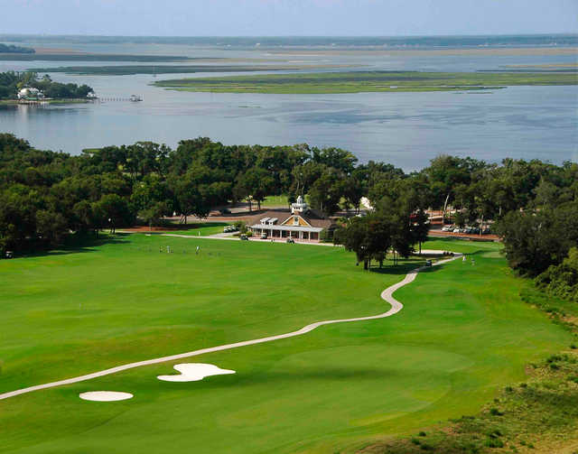 Aerial view of The Amelia River Club's clubhouse.