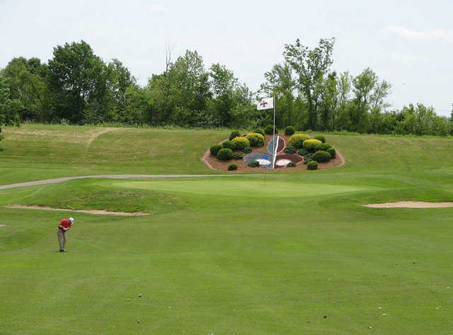 A view of green #16 at Skyview Course from Terre Du Lac Golf & Country Club.