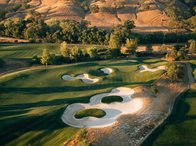 Aerial view of the 8th green from the Yocha Dehe Golf Club at Cache Creek Casino Resort.
