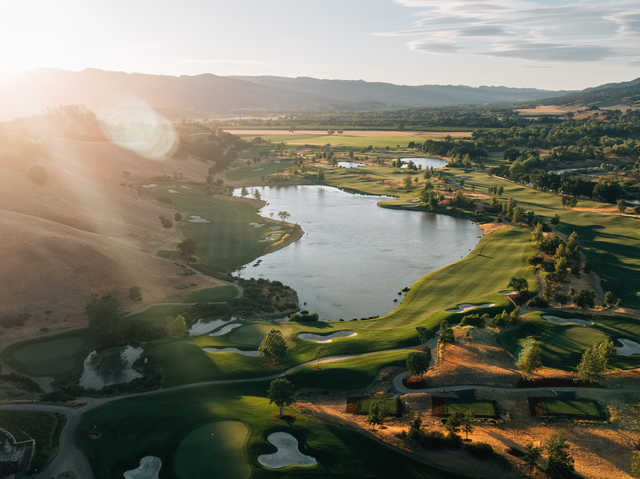 Aerial view of the 10th hole on the left side and the 18th hole on the right side at Yocha Dehe Golf Club.