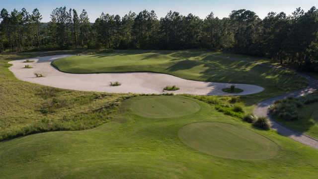 Aerial view of the 13th green at Moorland Course.