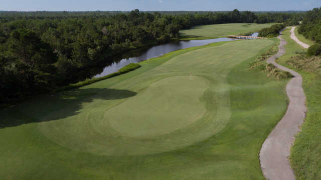 Aerial view of the 15th green at Moorland Course.