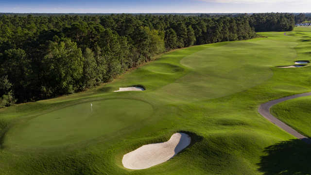 Aerial view of the 1st hole from the Parkland Course at Legends Golf Resort.