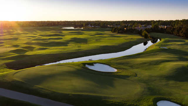 Aerial view of the 9th hole from the Parkland Course at Legends Golf Resort.