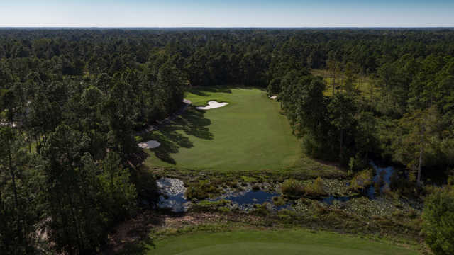 Aerial view of the 15th hole from the Parkland Course at Legends Golf Resort.