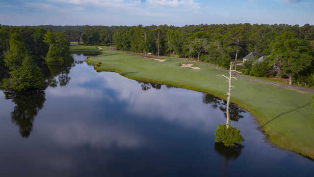 Aerial view of the 14th fairway and green at The Heritage Club.
