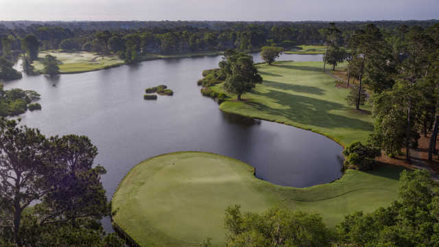 Aerial view of the 18th green at The Heritage Club.