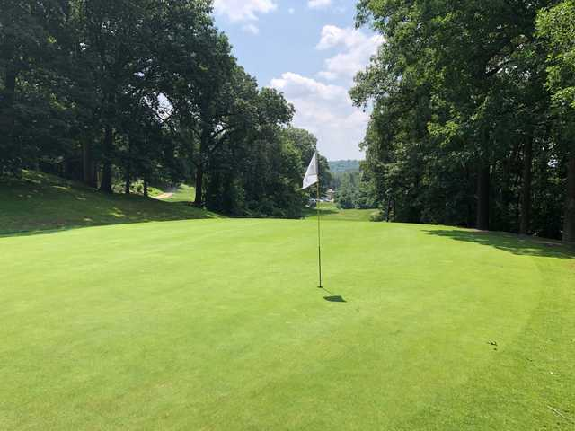 Looking back from the 2nd green at Stoneham Oaks Golf Course.