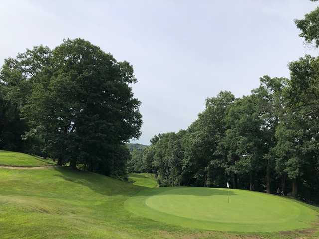 View of a green at Stoneham Oaks Golf Course.