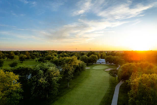 Aerial view of the 14th fairway and green at Port Colborne Country Club.