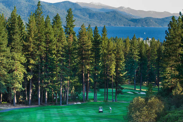 Looking back from the 18th green at Incline Village Golf Resort Championship course.