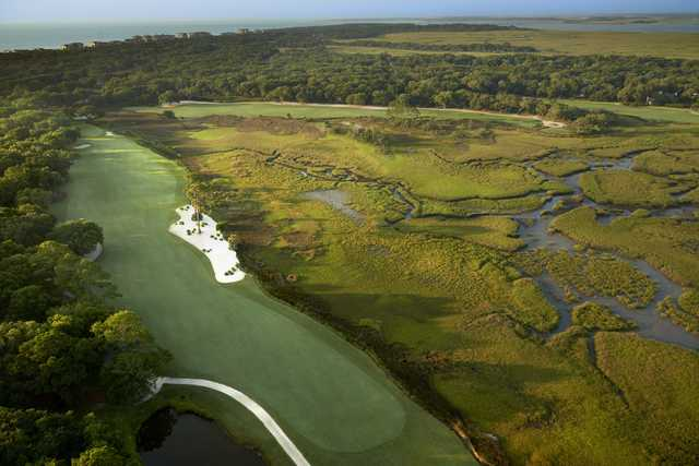 Aerial view of the 9th and 18th holes from the Oak Marsh course at Omni Amelia Island Resort.