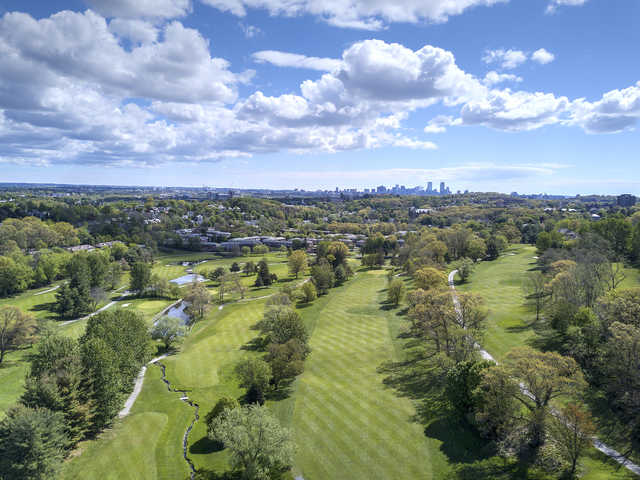 Aerial view from Newton Commonwealth Golf Course.