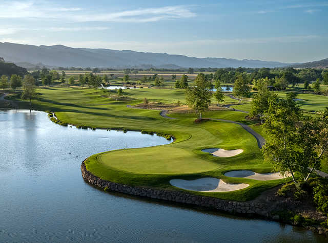 Aerial view of the 17th green from the Yocha Dehe Golf Club at Cache Creek Casino Resort.