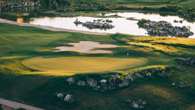 Aerial view of the 13th green from The Quarry Golf Course.