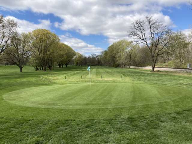 Looking back from a green at Willow Run Golf Course