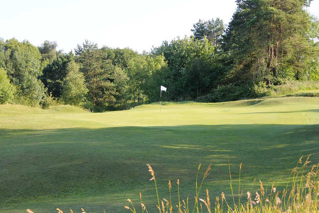 A view of the 9th green at Painswick Golf Club.