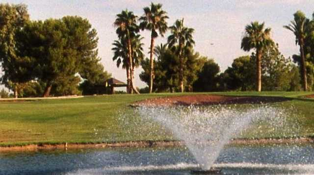 A view of a hole with water fountain in foreground at Ken McDonald Golf Course