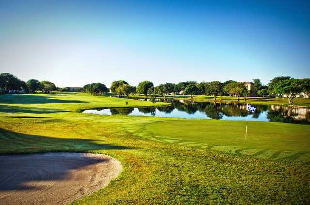 Water comes into play on every holes at Flamingo Lakes Golf & Country Club