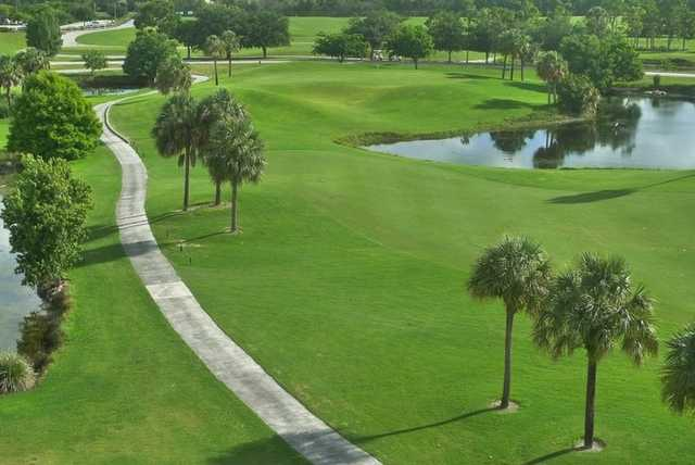 Aerial view of the 9th hole at Osprey from Okeeheelee Golf Course