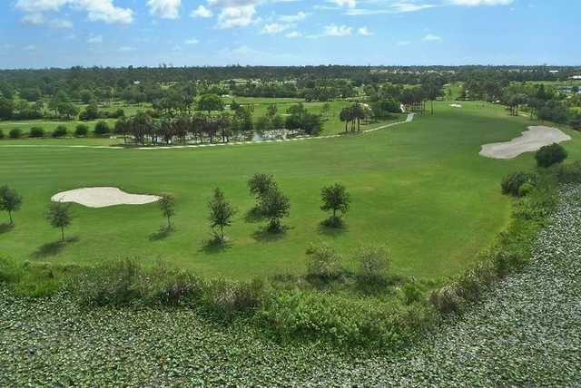 Aerial view of hole #8 at Eagle from Okeeheelee Golf Course