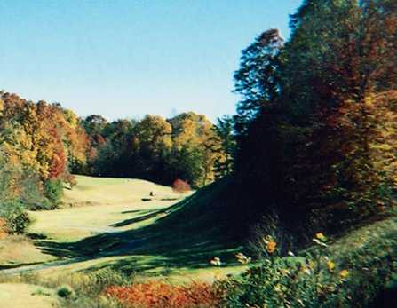A fall view of green #11 at Stonewall Golf Course