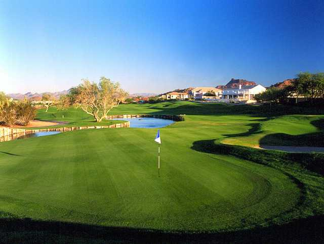 A view of green #18 at Red Mountain Ranch Country Club