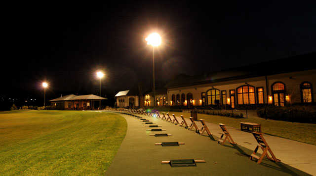 A view of the lighted driving range at 1757 Golf Club