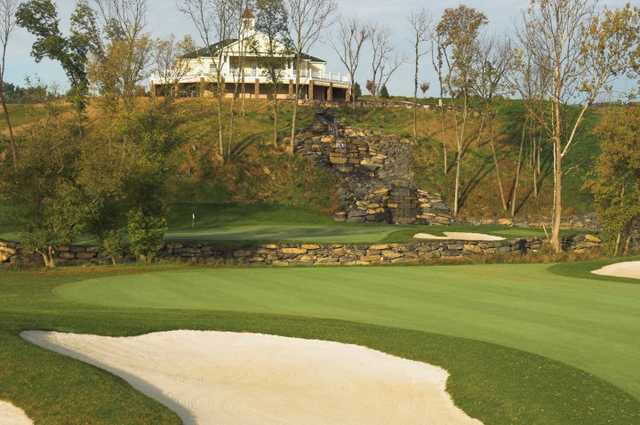 A view of hole #18 at Blue Ridge Shadows Golf Club