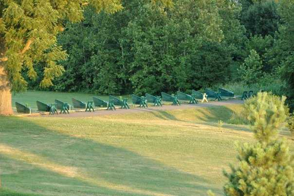 A view of the driving range tees at Westpark Golf Club