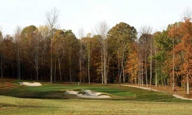 A fall view of hole #14 at Magnolia Green Golf Club
