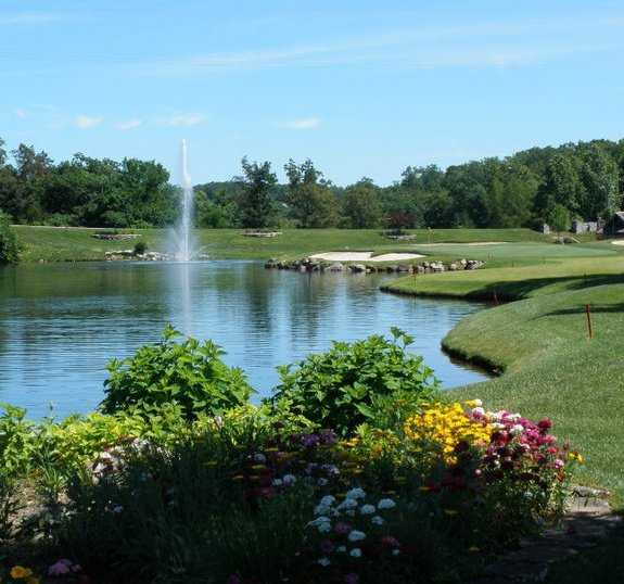 A view of the lake and the 17th green at LedgeStone Country Club