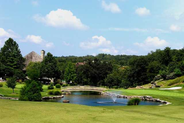 A view of the 18th green at LedgeStone Country Club