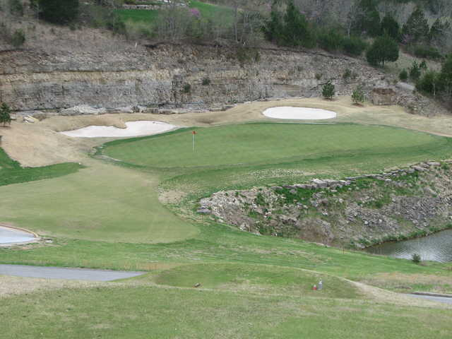 No. 15 at LedgeStone Championship Golf Course is a dramatically downhill par 3 with a three-tiered green.