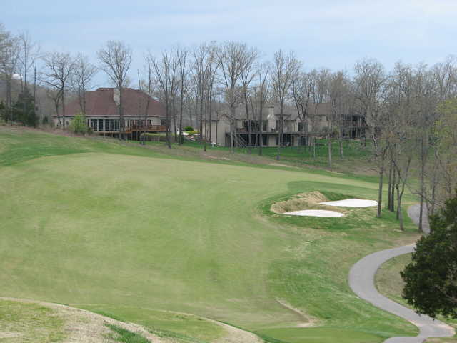 No. 14 at LedgeStone Championship Golf Course is a par 4 with a twisting, serpentine fairway.