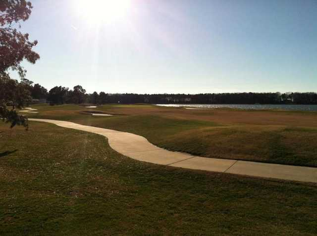A sunny view of hole #18 at Newport Bay at Ocean City Golf Club
