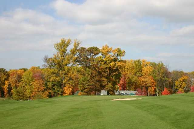 A view of hole #9 from fairway at Links at Challedon