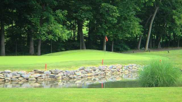 A view over the water of hole #14 at Glade Valley Golf Club