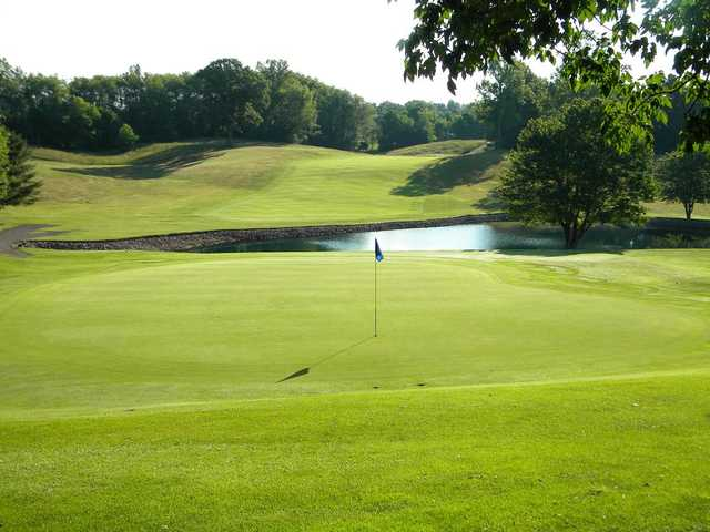 A view of hole #16 with water in background at Chippewa Golf Club
