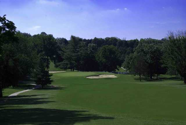 A view of hole #12 protected by bunkers at Nashboro Golf Club