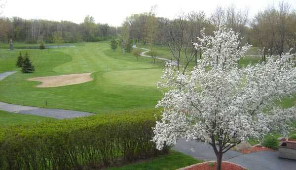 A spring view from the clubhouse balcony at Muskego Lakes Country Club