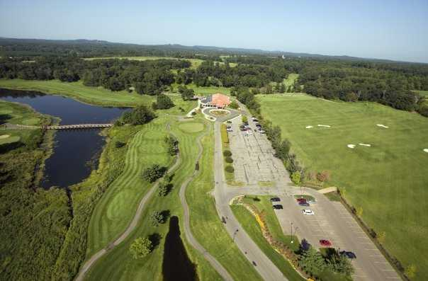 Aerial view with driving range on the right at Trappers Turn Golf Club