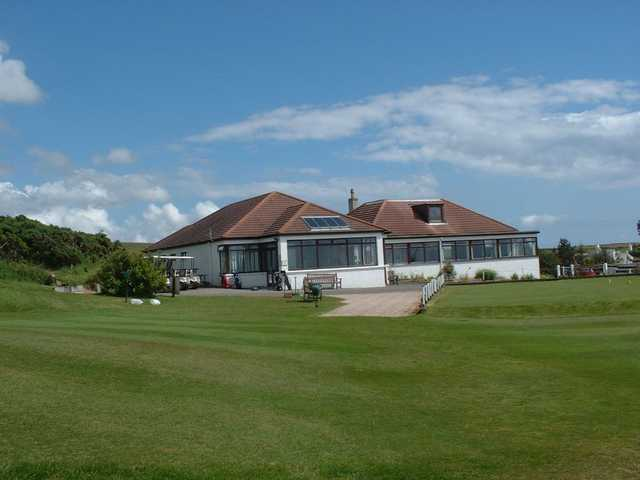 A view of the clubhouse at Portpatrick Golf Club