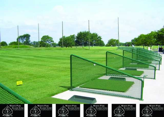 A view of the driving range tees at Marine Park Golf Course